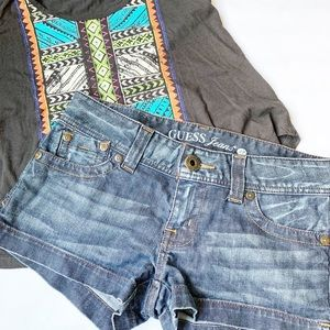 Guess Jeans Stretch Denim Shorts Mid Rise